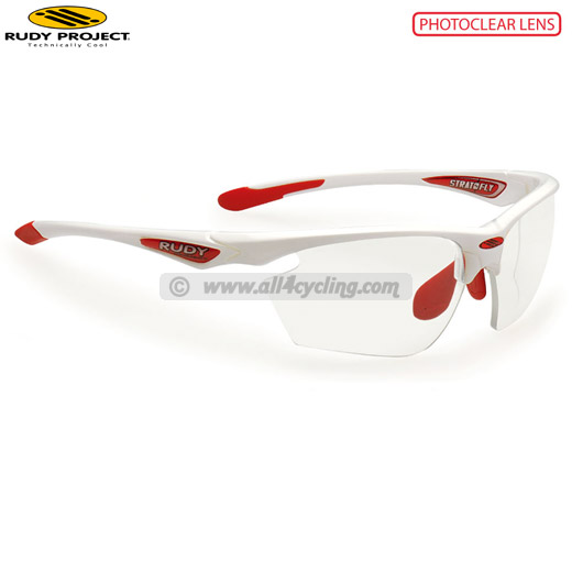 Uomo Occhiali Rudy Stratofly White Gloss/Red - Photo Clear